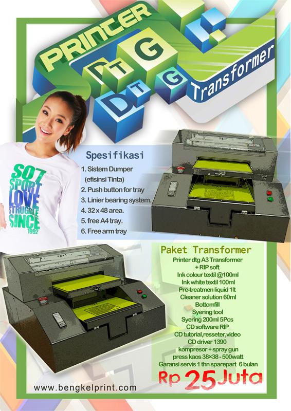 Printer kaos dengan mesin DTG a3